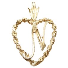 Letter / Initial N Heart Charm Pendant 14k Yellow Gold