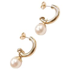Cultured Pearl Charm / Jacket Hoop Earrings 14k Yellow Gold