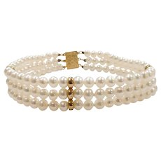Cultured Pearl Triple Strand Bracelet 14k Yellow Gold
