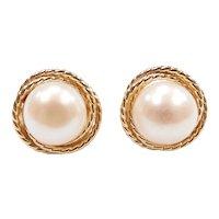 Cultured Pearl Stud Earrings 14k Yellow Gold