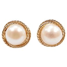 Cultured Pearl Stud Earrings 14k Yellow Gold