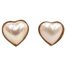 Romantic Cultured Pearl Heart Stud Earrings 14k Yellow Gold