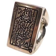Queen Of Hearts Playing Card Ring Sterling Silver