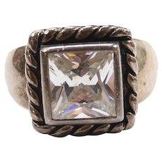Designer Faux Diamond 2.00 Carat Solitaire Ring Sterling Silver Silpada
