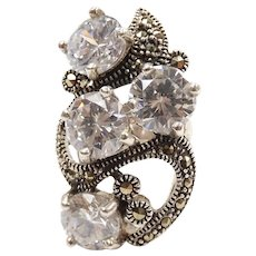 Faux Diamond 7.60 ctw and Marcasite Cluster Ring Sterling Silver