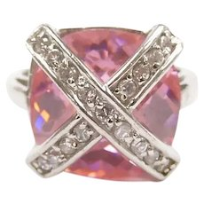 Pink Ice and Faux Diamond 21.76 ctw Crisscross Fashion Ring Sterling Silver