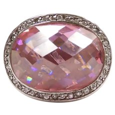 Statement Pink Ice and Faux Diamond 19.87 ctw Halo Fashion Ring Sterling Silver