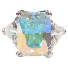 Faux Mystic Topaz and Faux Diamond 16.30 ctw Fashion Ring Sterling Silver