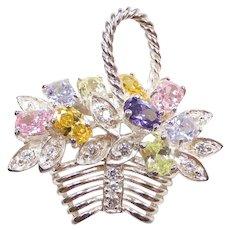 Colorful Gemstone 4.51 ctw Flower Basket Pendant Sterling Silver