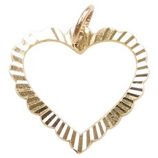 Diamond Cut Heart Charm / Pendant 14k Yellow Gold