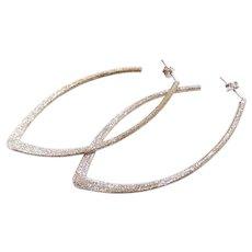 Textured Long V Shape Hoop Earrings Sterling Silver