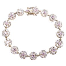 Faux Diamond and Pink Ice 8.08 ctw Bracelet Sterling Silver