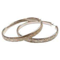 BIG Diamond Cut Hoop Earrings Sterling Silver