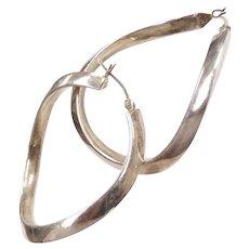 Big Curved Hoop Earrings Sterling Silver