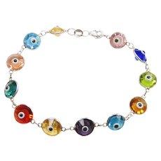 Colorful Evil Eye Amulet Bracelet Sterling Silver