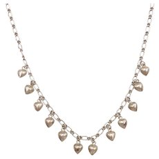 Puff Heart Charm Necklace Sterling Silver