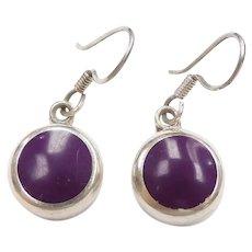 Purple Enamel Dangle Earrings Sterling Silver