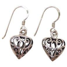 Filigree Heart Dangle Earrings Sterling Silver