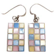 Colorful Mother of Pearl Inlay Earrings Sterling Silver