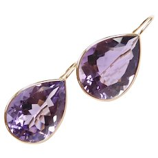 Amethyst 27.84 ctw Teardrop Earrings 14k Yellow Gold