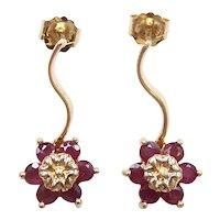 Ruby .96 ctw Flower Drop Earrings 14k Yellow Gold