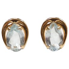 Aquamarine .50 ctw Stud Earrings 14k Yellow Gold