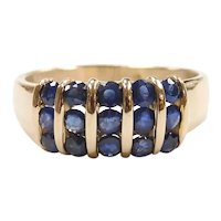 Sapphire .75 ctw Band Ring 14k Yellow Gold