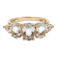 Aquamarine 1.71 ctw Five Stone Band Ring 14k Yellow Gold