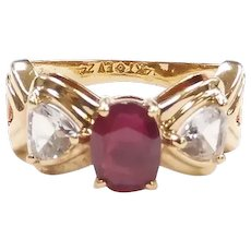 Ruby and White Sapphire 1.73 ctw Three Stone Ring 14k Yellow Gold