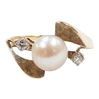 Vintage Cultured Pearl and Diamond .06 ctw Bypass Ring 14k Yellow and White Gold Two-Tone