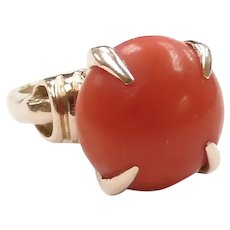 Retro Red Coral Solitaire Ring 14k Yellow Gold