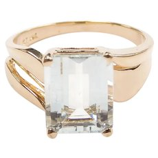 Aquamarine 3.10 Carat Solitaire Ring 14k Yellow Gold