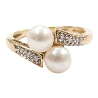 Cultured Pearl and Diamond .06 ctw Bypass Ring 14k Yellow and White Gold Two-Tone