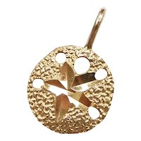 Nautical Sand Dollar Pendant / Charm 14k Yellow Gold
