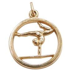 Gymnast / Gymnastics Sports Charm 14k Yellow Gold