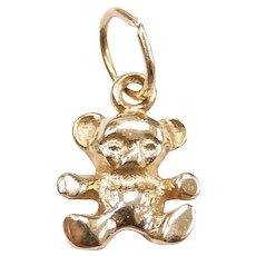 Small Teddy Bear Charm 14k Yellow Gold