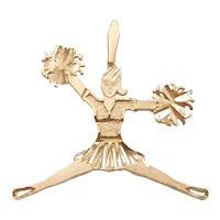 Cheerleading / Cheerleader Sports Pendant / Charm 14k Yellow Gold