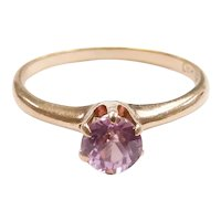 Vintage Pink Sapphire .45 Carat Solitaire Ring 10k Yellow Gold