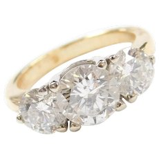 Stunning 3.39 ctw Diamond Three Stone ~ Past, Present and Future Ring ~ 18k Gold ~ Anniversary / Engagement Ring