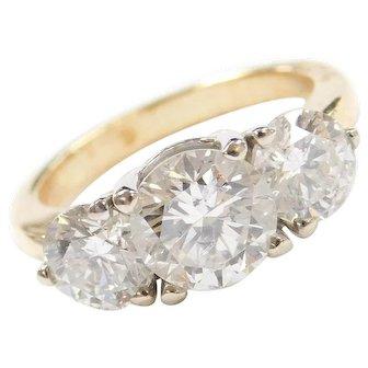 Stunning 3.39 ctw Diamond Three Stone ~ Past, Present and Future Ring ~ 18k Gold ~ Anniversary / Engagement Ring