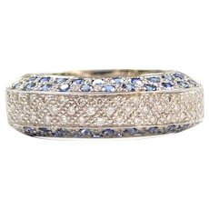 18k White Gold 1.04 ctw Diamond and Sapphire Band Ring