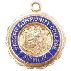 14k Gold Nassau Community College MCMLIX Charm with Blue Enamel