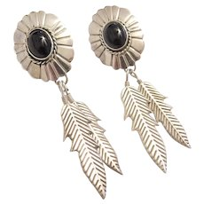 Sterling Silver Native American Onyx and Feather Earrings
