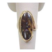 14k Gold Handmade Modernistic Natural Black Opal Ring ~ Circa 1970's
