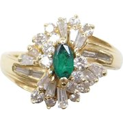 Vintage 18k Gold 1.14 ctw Emerald and Diamond Ring