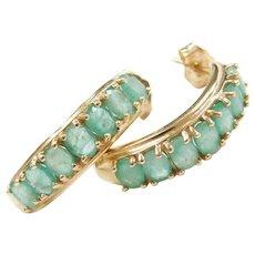 Vintage 14k Gold Natural Emerald Earrings