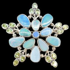 BIG Sterling Silver Natural Opal and Peridot Pin / Brooch ~ Can be converted into a Pendant