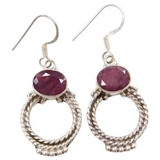 Sterling Silver 14.50 ctw Natural Ruby Dangle Earrings