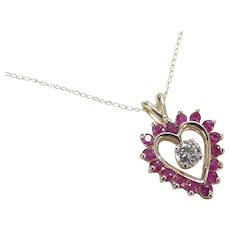 Vintage 14k Gold 1.43 ctw Diamond and Natural Ruby Heart Necklace