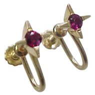 Vintage 14k Gold Natural Ruby Screw Back Earrings ~ .40 Carat